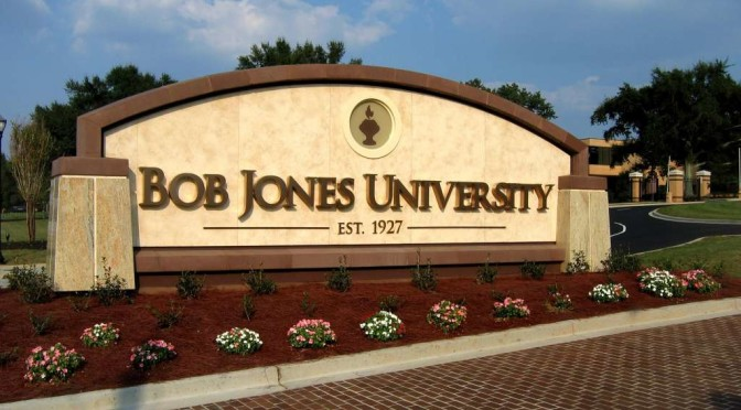 The sign on front campus of Bob Jones University.
