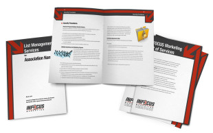 2011. The last piece of the rebranding puzzle for INFOCUS Marketing was our proposal booklets. They were designed with our sales sheets and business cards in mind.