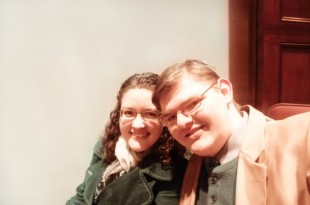 Michael and me, at the symphonic wind band concert after the Christmas lighting ceremony in early December, 2008.