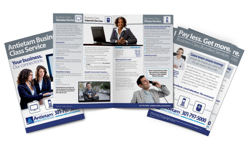 Bifold brochure design for Antietam Cable's business class services, as part of the team at Icon Graphics.