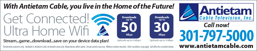 Banner ad design for insertion in the local newspaper for Antietam Cable's WiFi service as part of their Home of the Future campaign. Design for Icon Graphics.