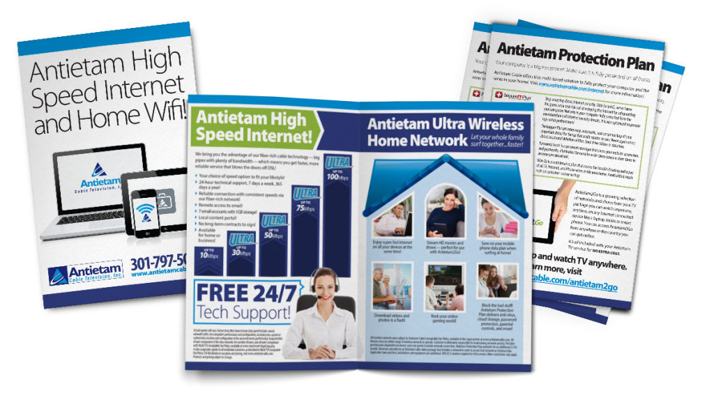 Brochure design for Antietam Cable's high-speed internet service, using the same design style used in their Home of the Future campaign. Design as part of Icon Graphics.