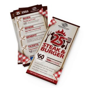 Rack cards and envelope inserts are common design requests. This is a mock-up created to best display those designs.