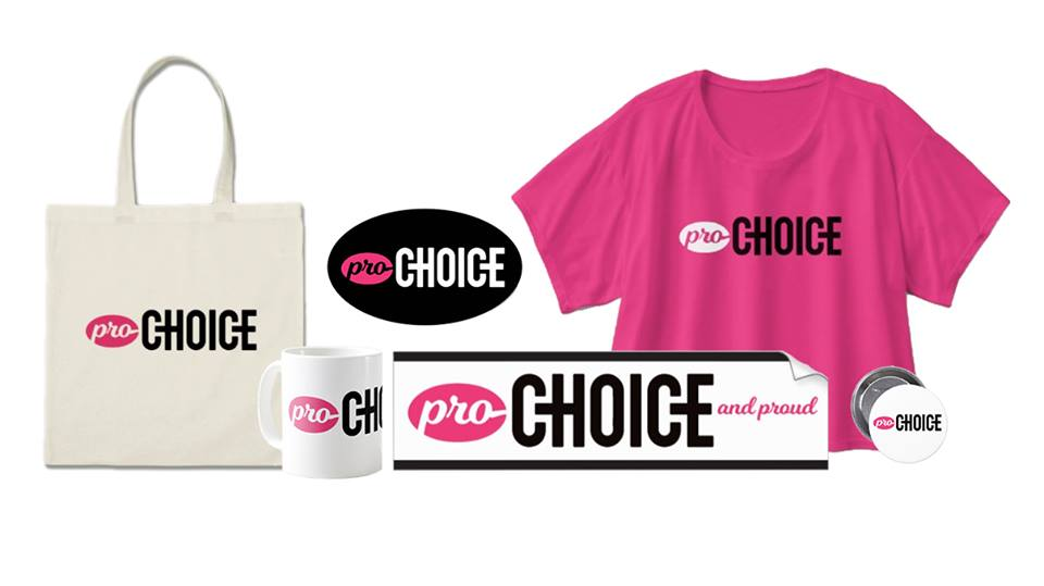 """A collage of products with """"Pro-Choice"""" emblazoned upon them, including: a tote bag, an oval sticker, a white coffee mug, a pink crop top, a bumper sticker, and a circle button pin."""